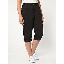 Evans - Black cotton cropped trousers