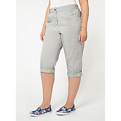 Evans - Grey cotton cropped trousers