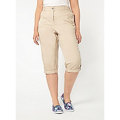 Evans - Neutral cotton cropped trousers