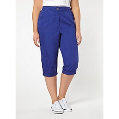 Evans - Purple cotton cropped trousers