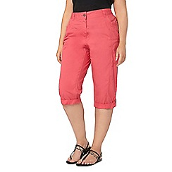 Evans - Pink cotton cropped trousers