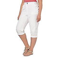 Evans - White cotton cropped trousers