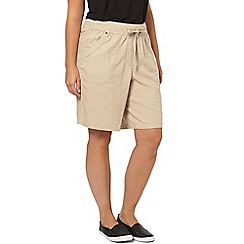 Evans - Neutral linen blend shorts