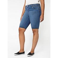 Evans - Midwash denim pear fit shorts