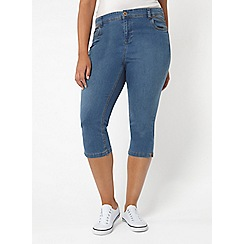 Evans - Midwash denim cropped jeans
