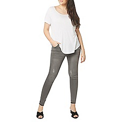 Evans - Grey let down skinny jeans