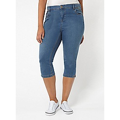 Evans - Midwash pear fit cropped jeans