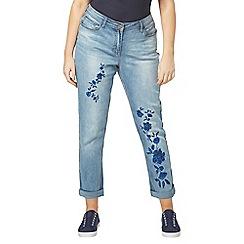 Evans - Blue embroidered boyfriend jeans