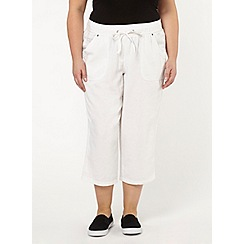 Evans - White linen blend crop trousers