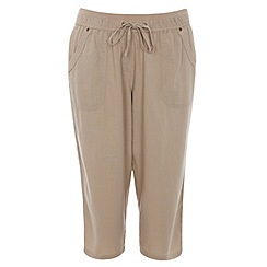 Evans - Neutral linen blend crop trousers