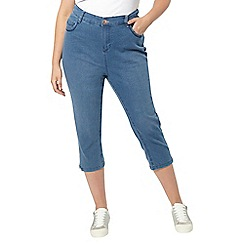 Evans - Mid wash pear fit denim cropped jeans