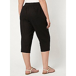 Evans - 2 pack black and neutral linen blend cropped trousers