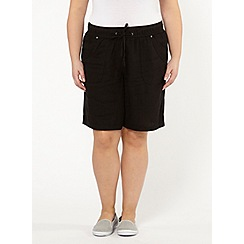 Evans - Black linen blend shorts