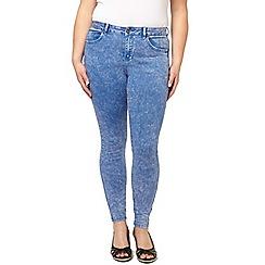 Evans - Blue acid wash skinny jeans