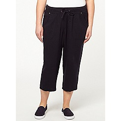 Evans - Navy linen blend crop trousers