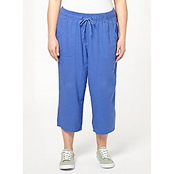 Evans - Lavender blue linen blend crop trousers