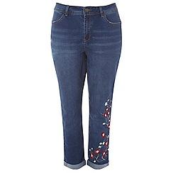 Evans - Short embroidered boyfriend jeans
