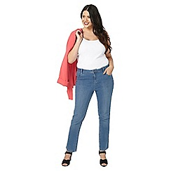 Evans - Midwash straight short leg jeans