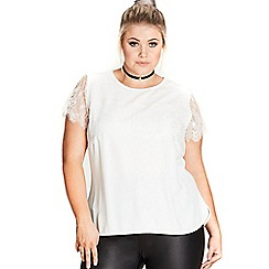 Evans - City chic lace overlay top