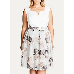 Evans - City chic ivory whimsy floral skirt