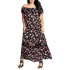 Evans - City Chic floral panel maxi dress