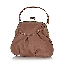Yumi - Pink retro clasp faux leather bag