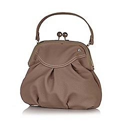 Yumi - Brown retro clasp faux leather bag