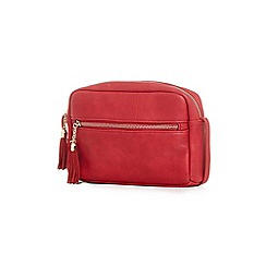 Yumi - Red faux leather zip pouchette bag