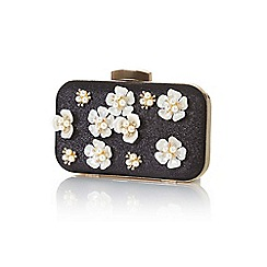 Yumi - Black embellished flower clutch bag