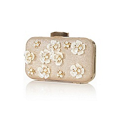 Yumi - Gold embellished flower clutch bag