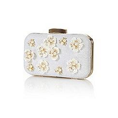 Yumi - Silver embellished flower clutch bag