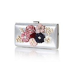 Yumi - Silver floral applique clutch bag