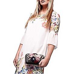 Yumi - Black floral applique clutch bag