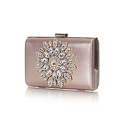 Yumi - Mid rose embellished floral clutch bag