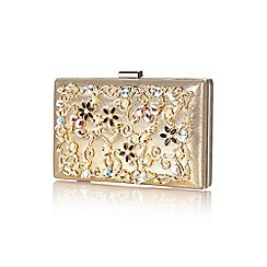 Yumi - Gold jewelled vintage floral clutch bag