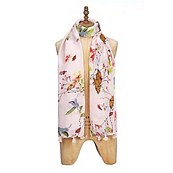 Yumi - Pink summertime butterfly print scarf