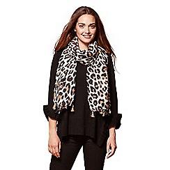 Yumi - Multicoloured leopard pattern woven scarf