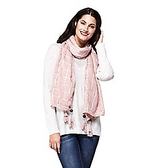 Yumi - Pink checked jacquard scarf