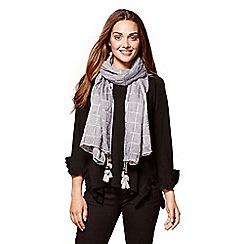 Yumi - Grey checked jacquard scarf