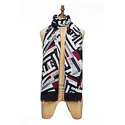 Yumi - Navy geometric print scarf