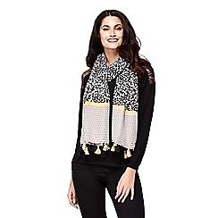 Yumi - Black block pattern woven scarf