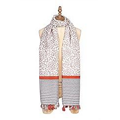 Yumi - Brown geometric print scarf