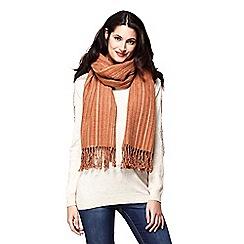 Yumi - Brown stripe knit scarf