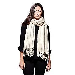 Yumi - Cream stripe knit scarf