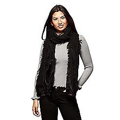 Yumi - Black layered fringe scarf