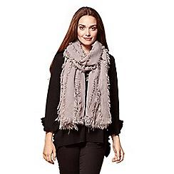 Yumi - Grey fringe layered scarf