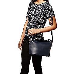 Yumi - Blue faux leather beaded shoulder bag