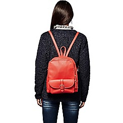 Yumi - Red buckle strap zip backpack