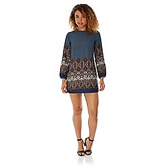 Yumi - Blue Yumi 70s Tapestry Print Tunic Dress