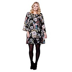 Yumi Curves - Multicoloured Floral Printed Smock Dress